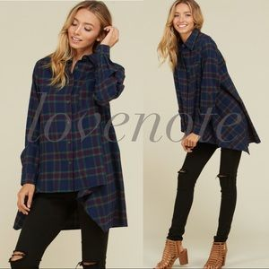 Cotton Flannel Plaid Long Sleeve High Low Tunic